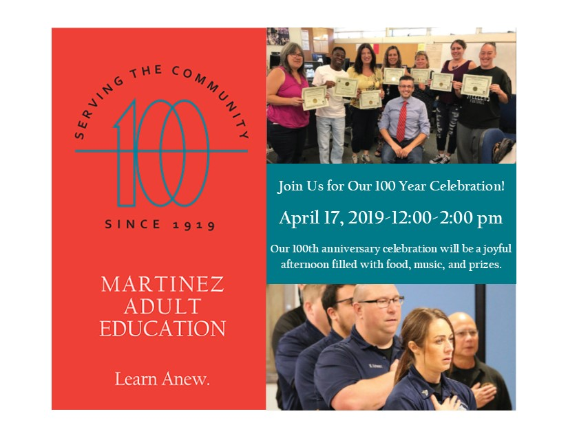 Martinez Adult Education 100 Year Celebration