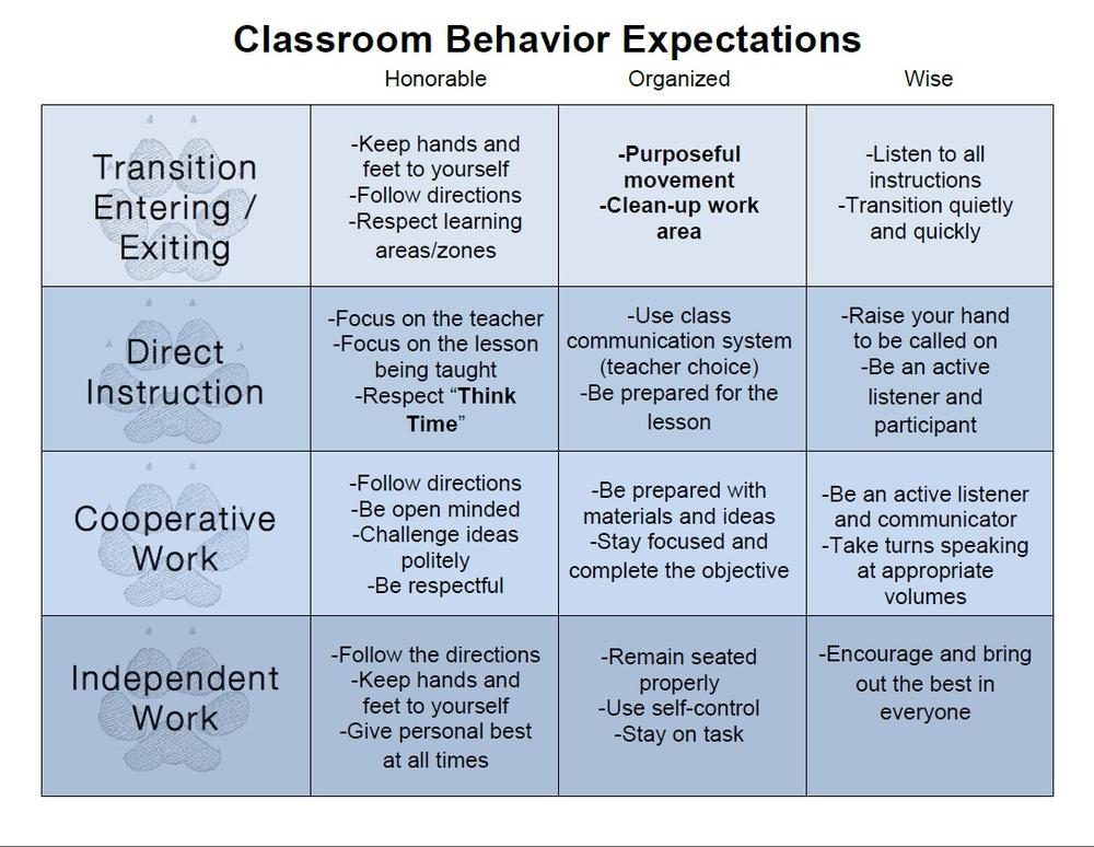 Classroom Behavior Expectations Chart