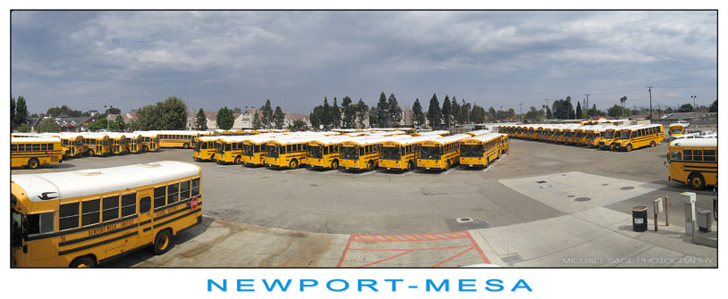 Aeriel View of Parked School Buses