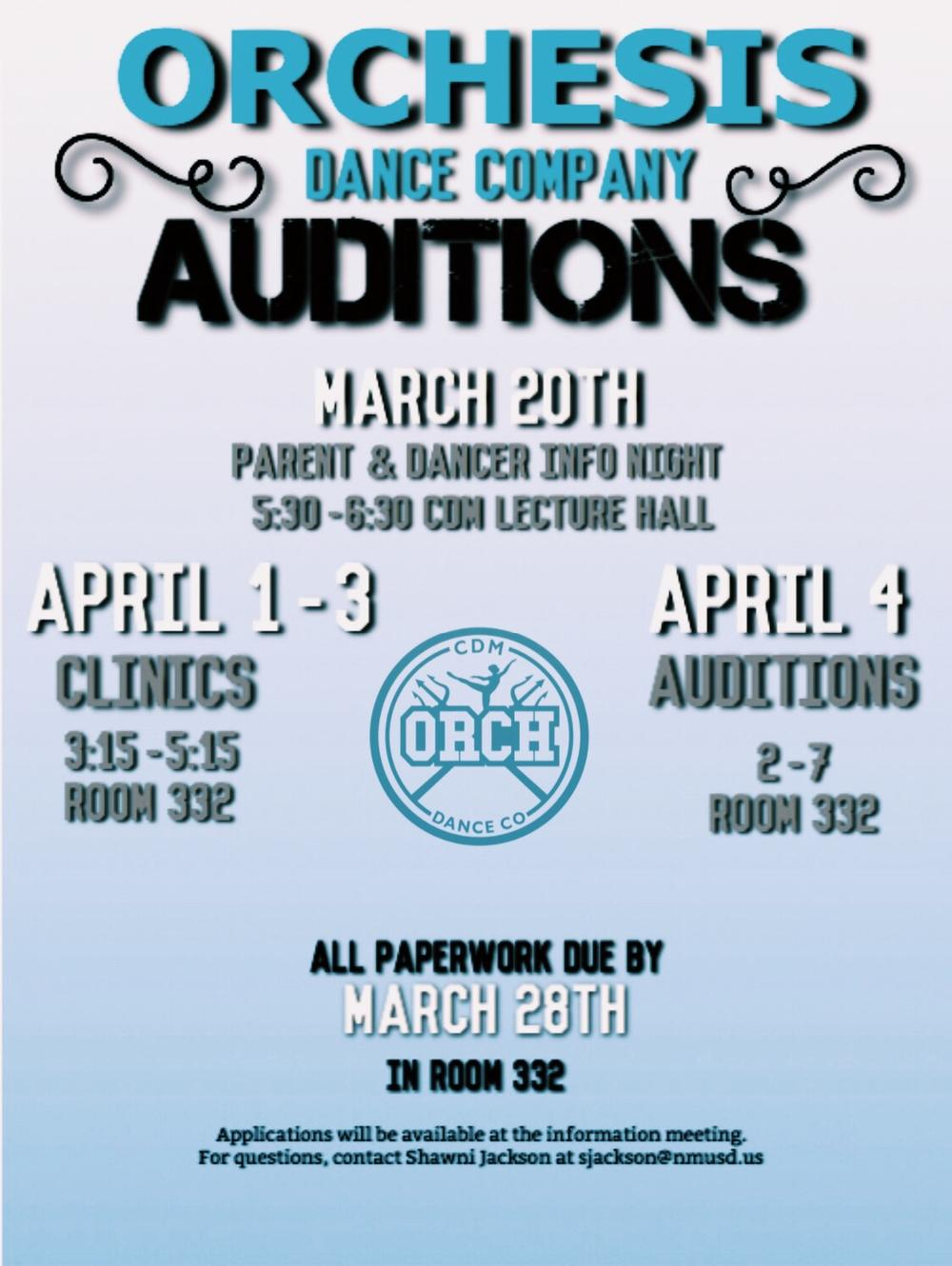 Orchesis tryout flyer