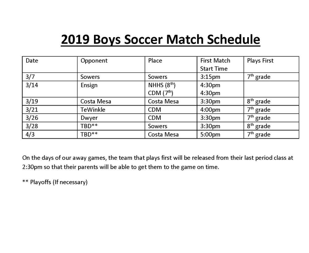 Boys Soccer Schedule