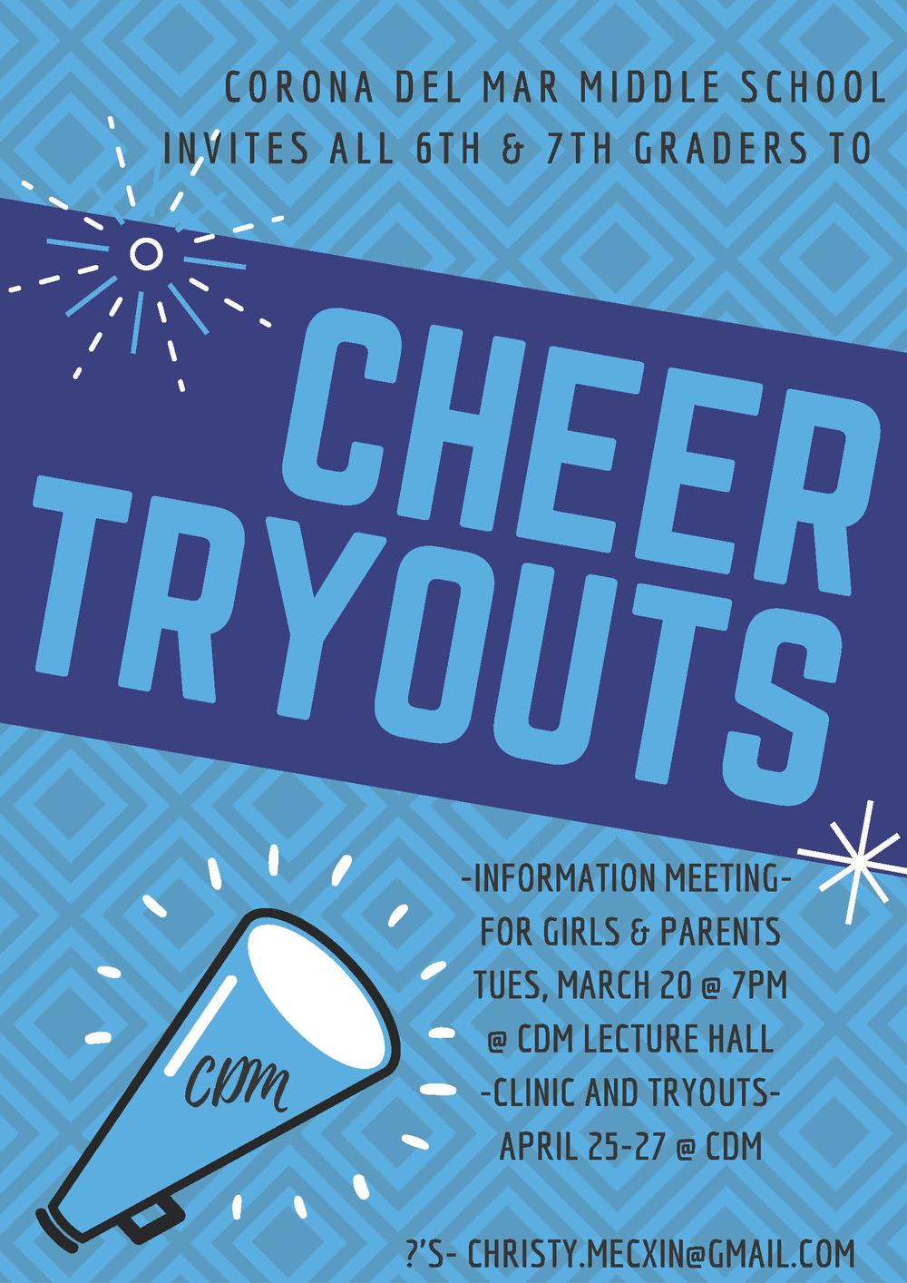 MS Cheer Tryout flyer