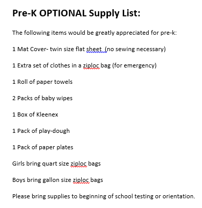 Pre-K Supply List
