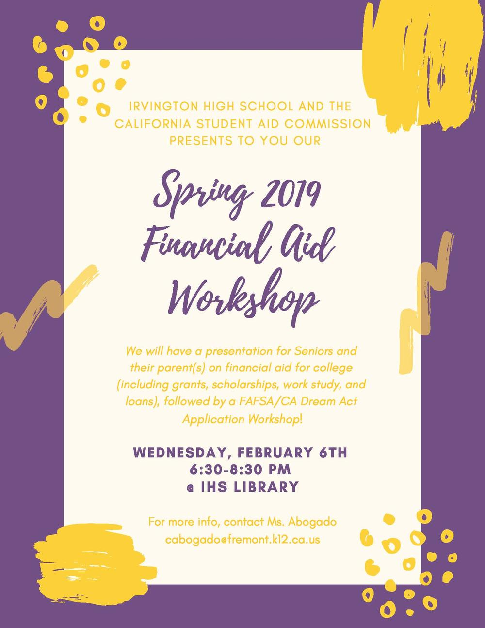 Spring 2019 FinAid Workshop