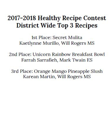 Healthy recipe contest winners