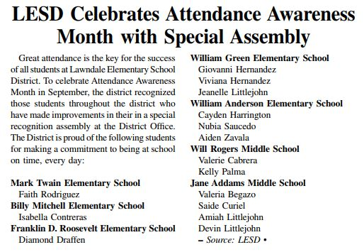 Attendance Awareness article clipping
