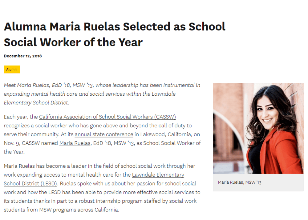 Maria Ruelas School Social Worker of the Year article