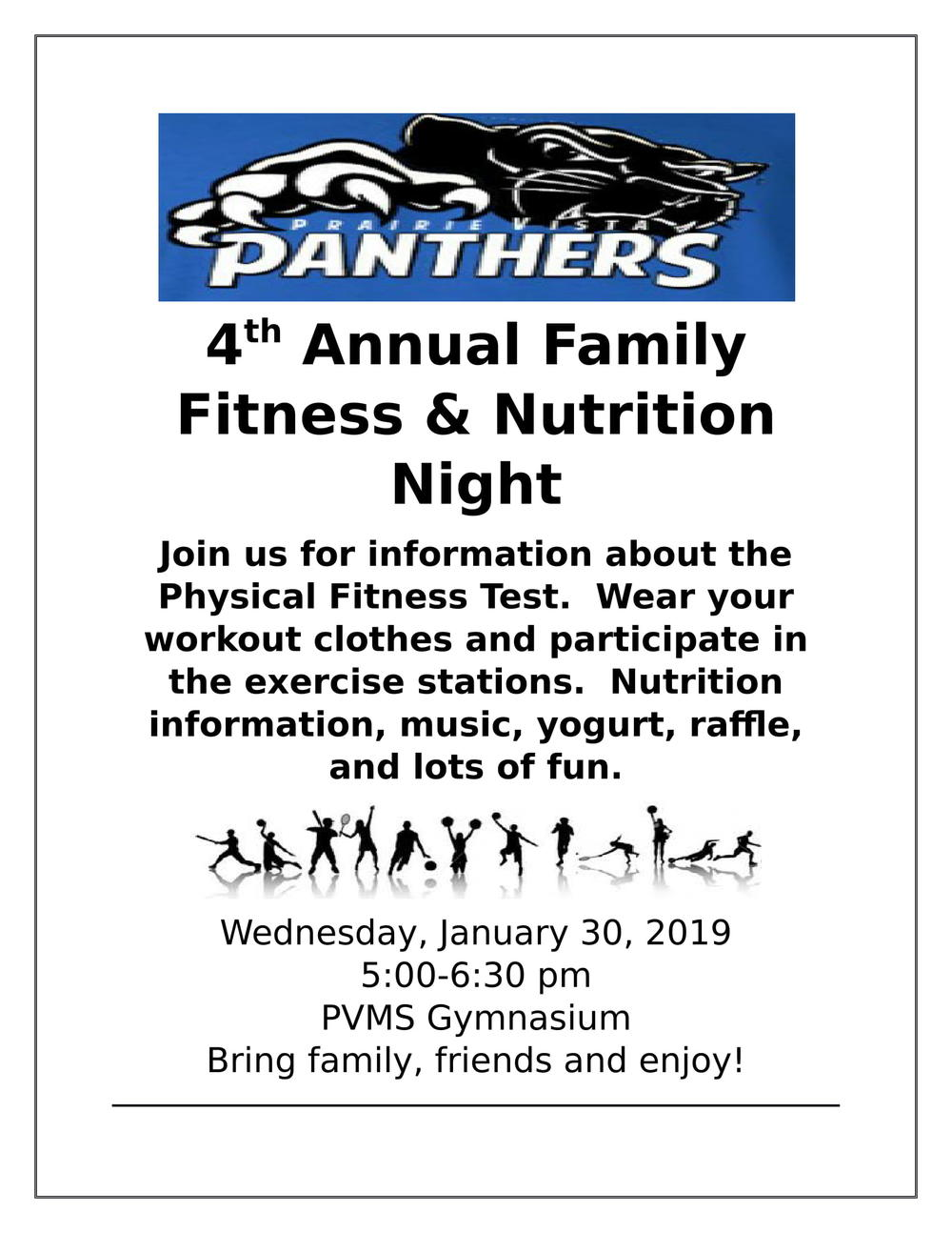 Flyer for Family Fitness night