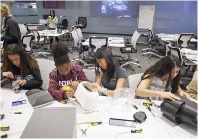 Girls working on STEM