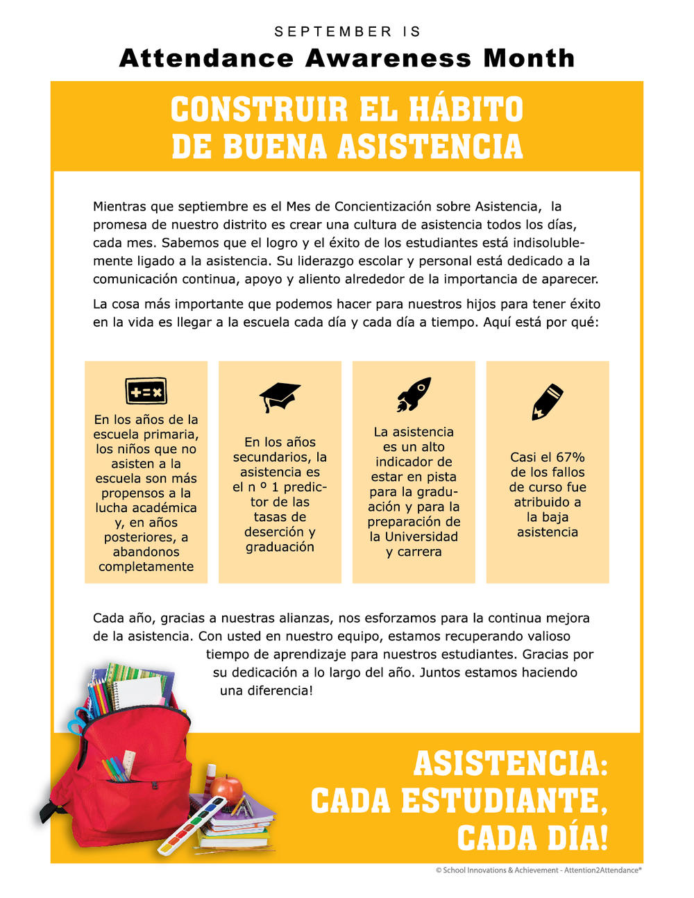 Attendance Awareness Month Flyer in Spanish