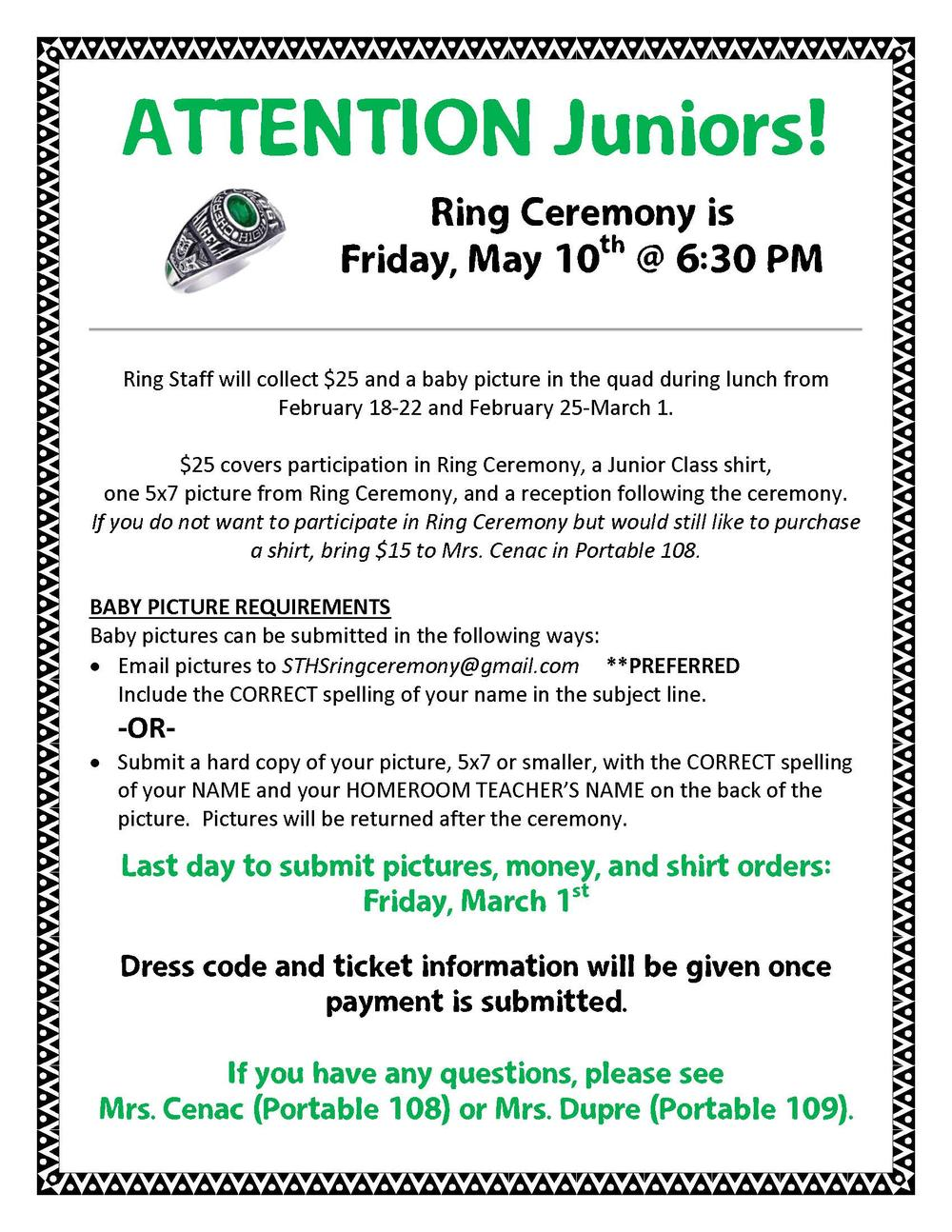 Ring Ceremony Info