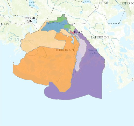 Map of Terrebonne Parish School Board Areas