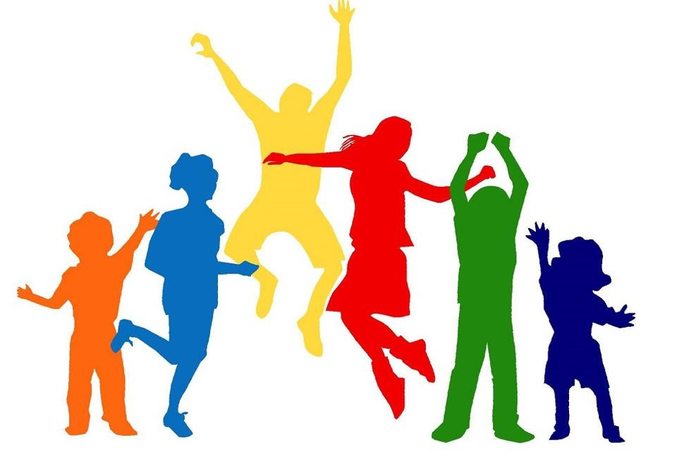 Colorful silhouette of children