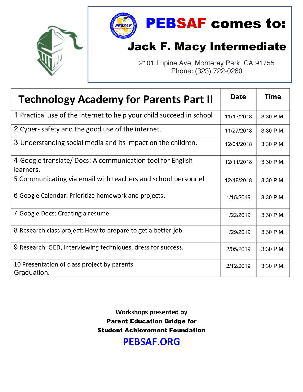 Technology Academy for Parents Flyer - English
