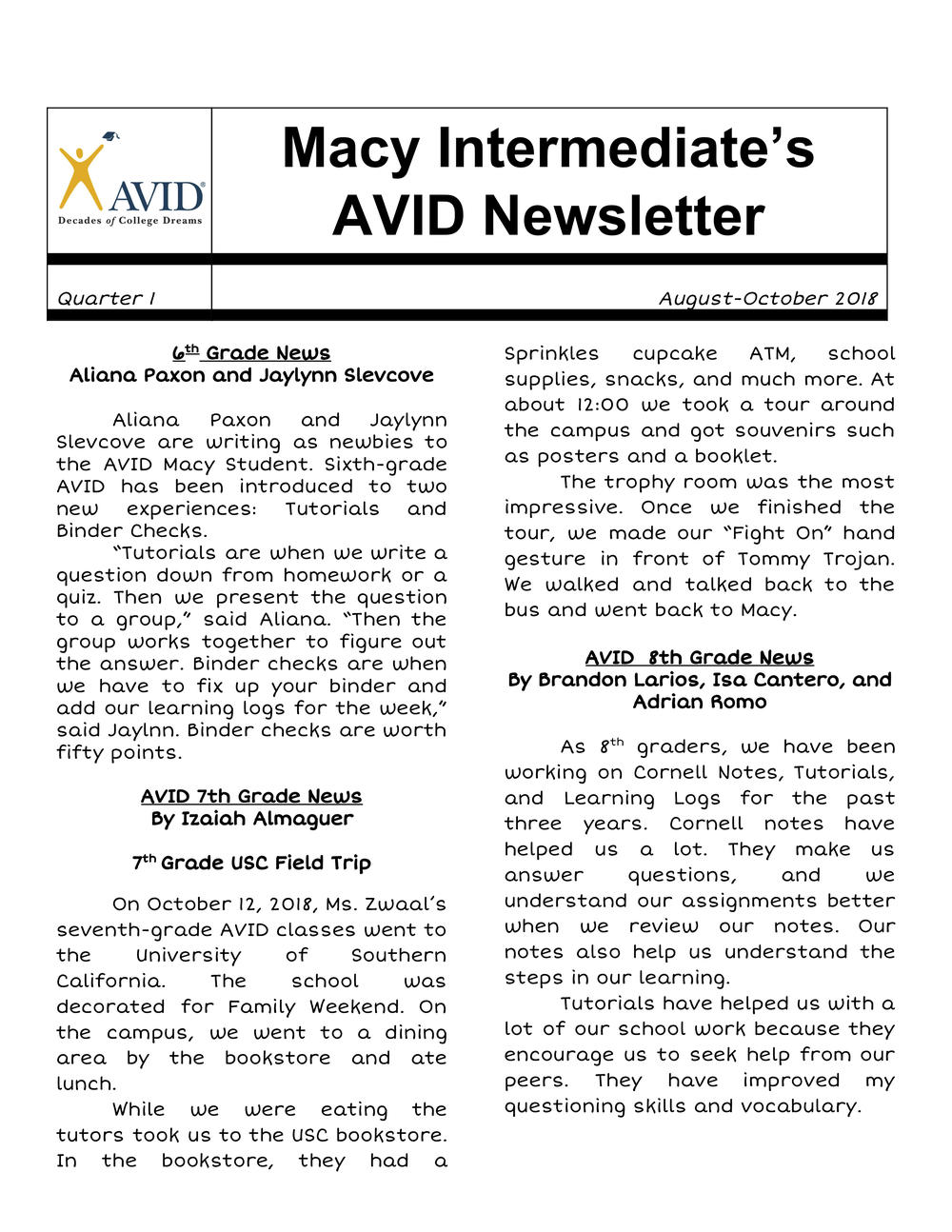 Macy AVID Newsletter- English