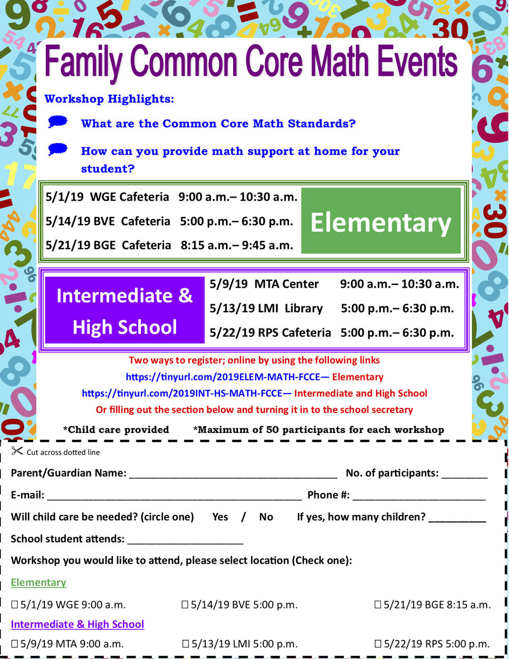Family Common Core Math Flyer English