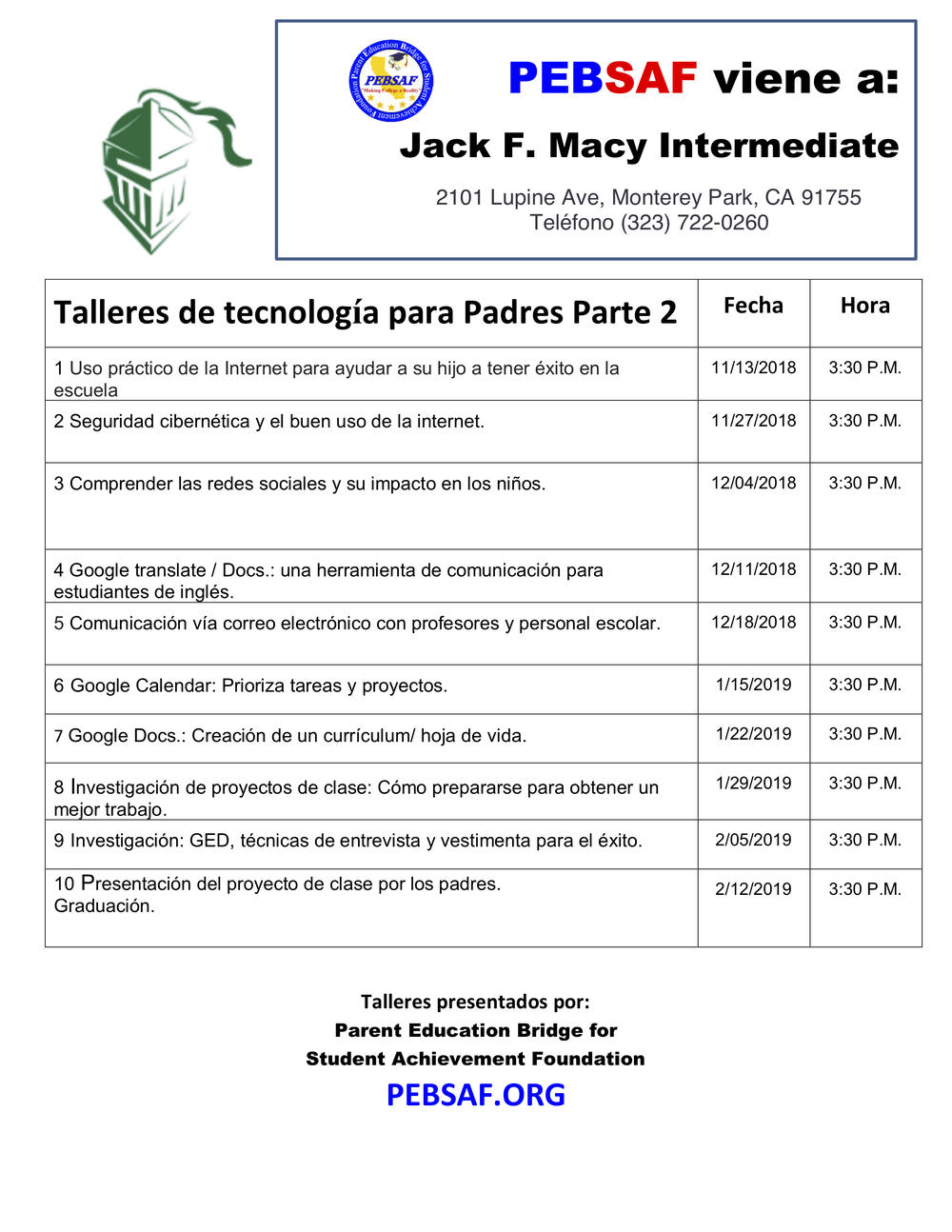 Technology Academy for Parents Flyer - Spanish