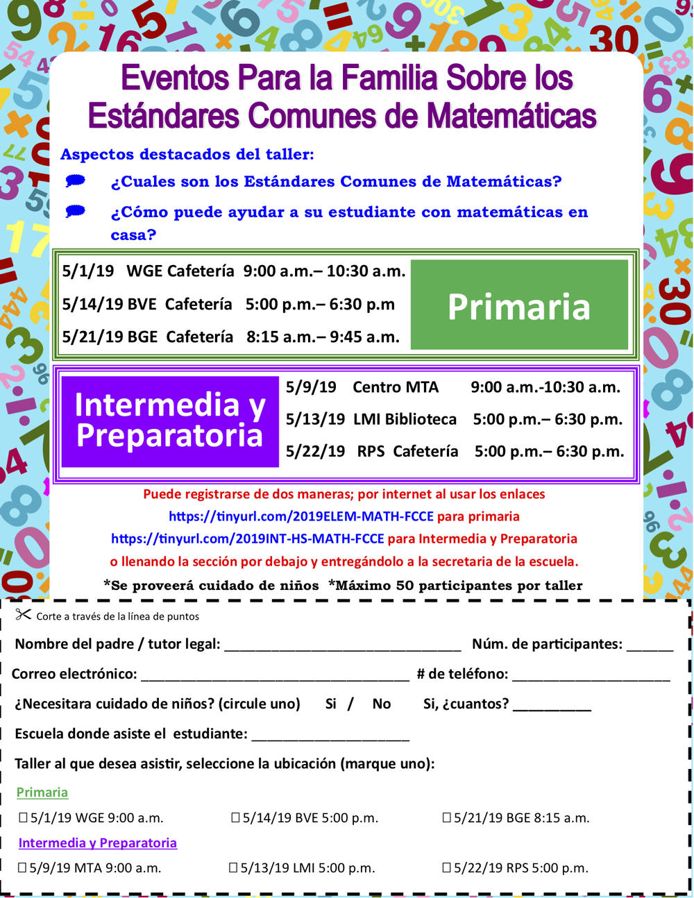 Family Common Core Math Flyer Spanish