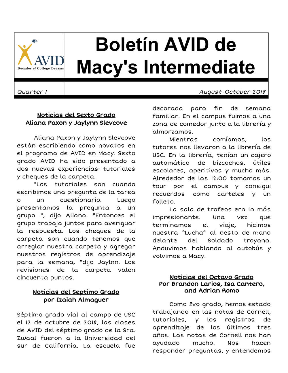Macy AVID Newsletter - Spanish