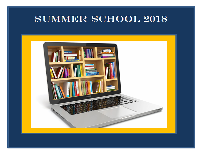 Picture of Laptop with shelves of books on the monitor  label says  Summer School 2018