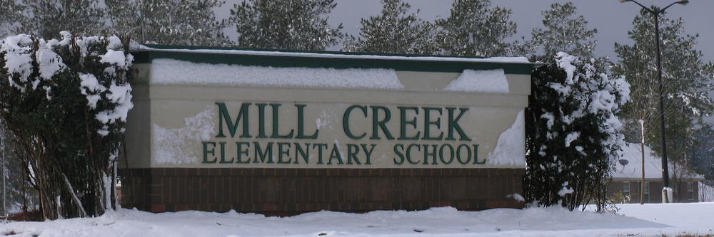 Mill Creek Sign in the winter