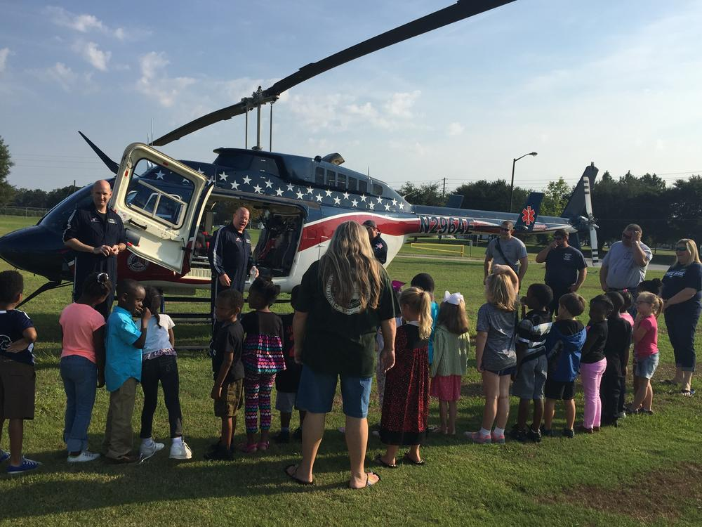 Students learn how the Medivac Helicopter works