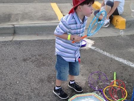 Blowing bubbles is super fun!