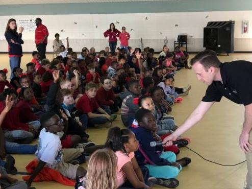 Cutter Martin talks weather with 4th graders. Thank you WTOC!