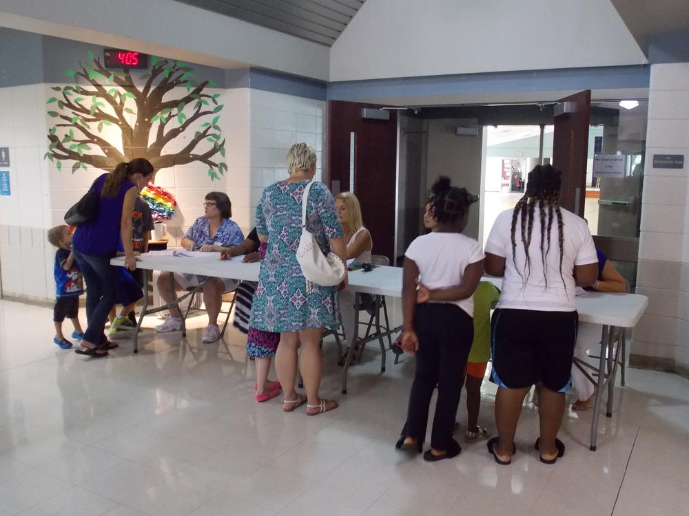 welcome table to greet parents