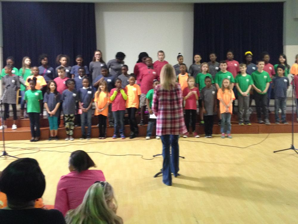 4th and 5th grade Chorus performs for the Black History Program under the  direction of Mrs. Lisa Ponder.