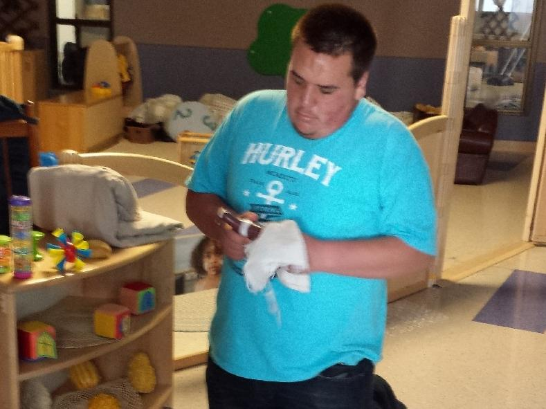 Working with the children at the Child Development Center