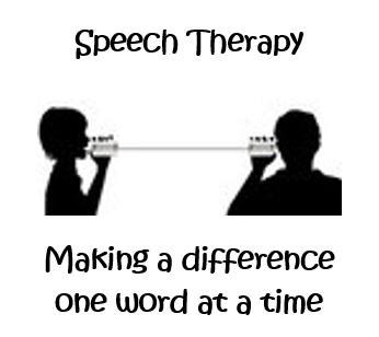 Image of two people talking - Words that says speech therapy. Making a difference one word at a time.