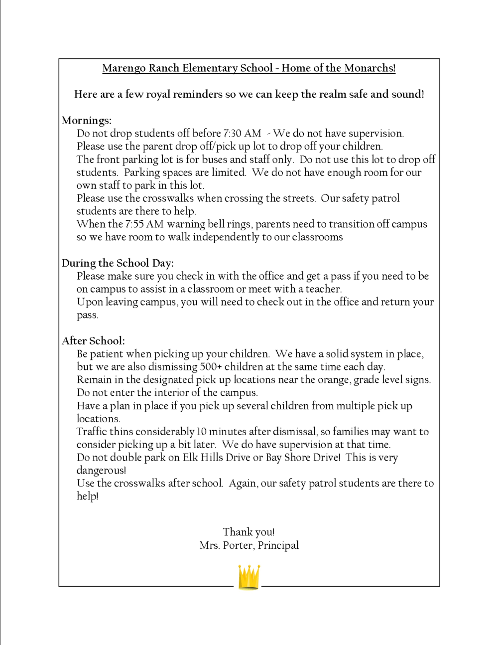 Principal s safety letter