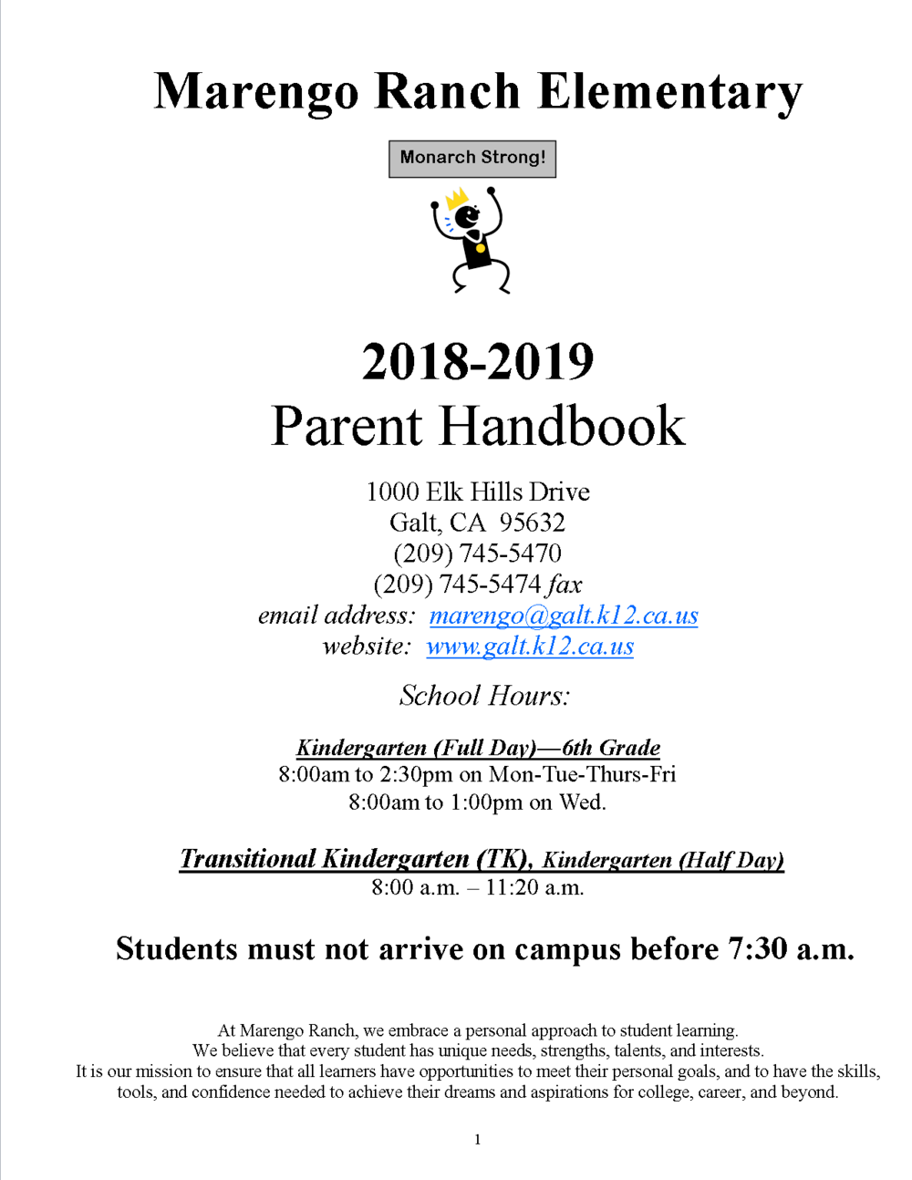 Cover of Parent Handbook in English
