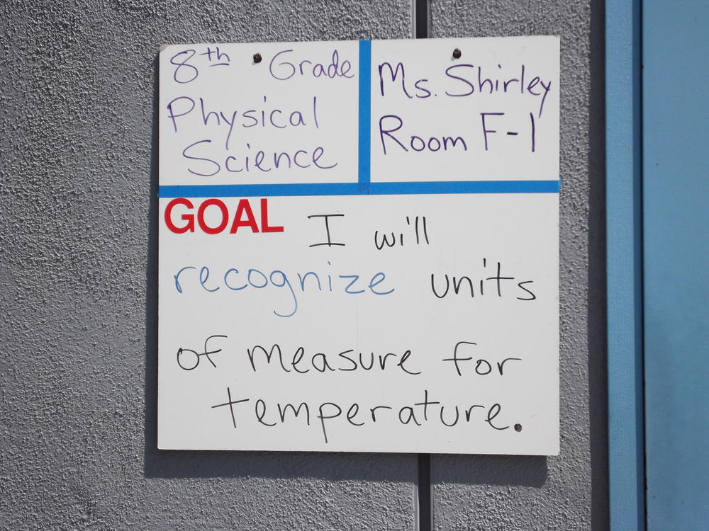 Goals written on whiteboard
