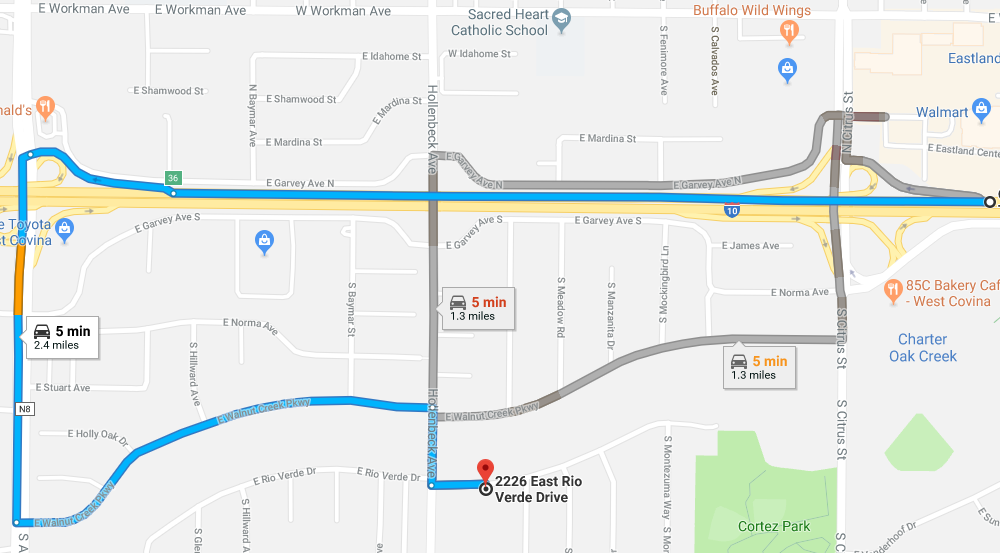 Directions from the 10-West to 2226 East Rio Verde Drive