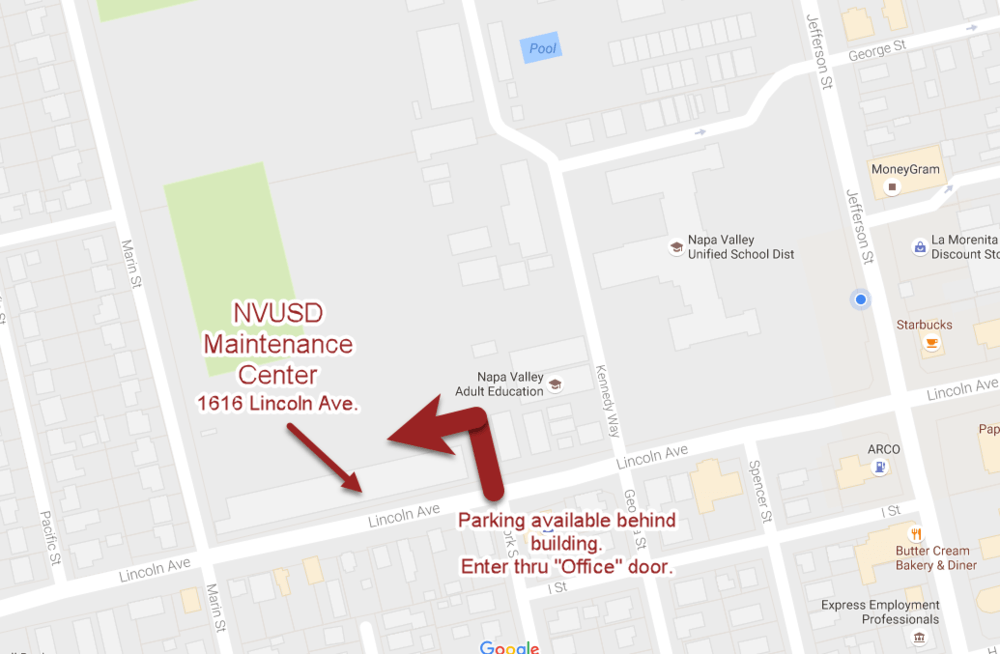 MAP OF NVUSD MAINTENANCE CENTER
