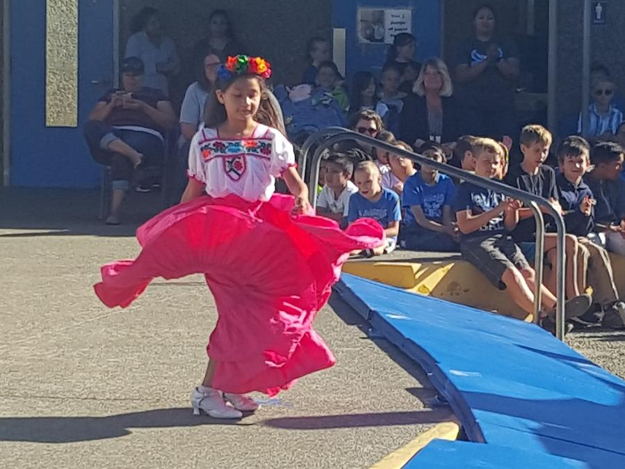 3rd Grader Karla performing Ballet Folklorico at our Talent Show