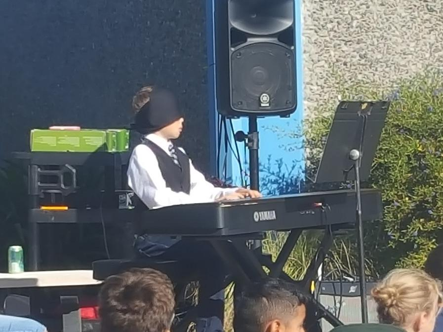 3rd Grader Jackson playing piano blindfolded during the Talent Show!
