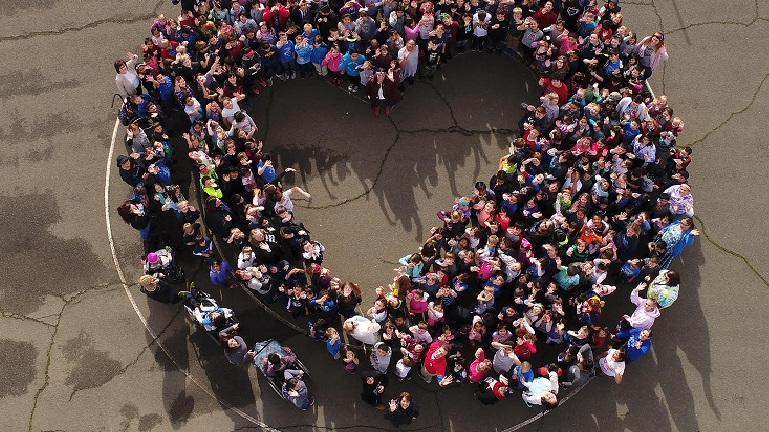 aerial view of northwood students in the shape of a heart