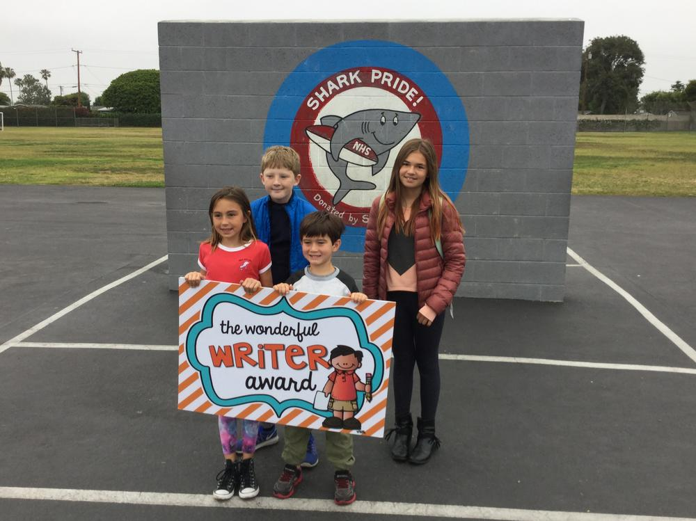 Students who received the Wonderful Writer Award