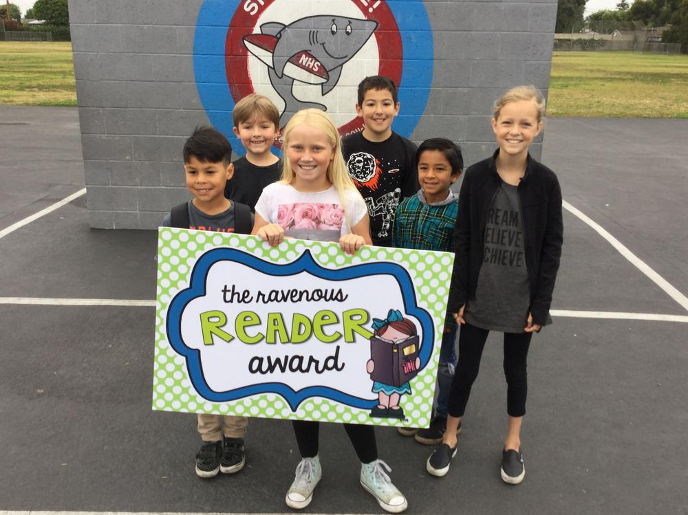 Students who received the Ravenous Reader Award