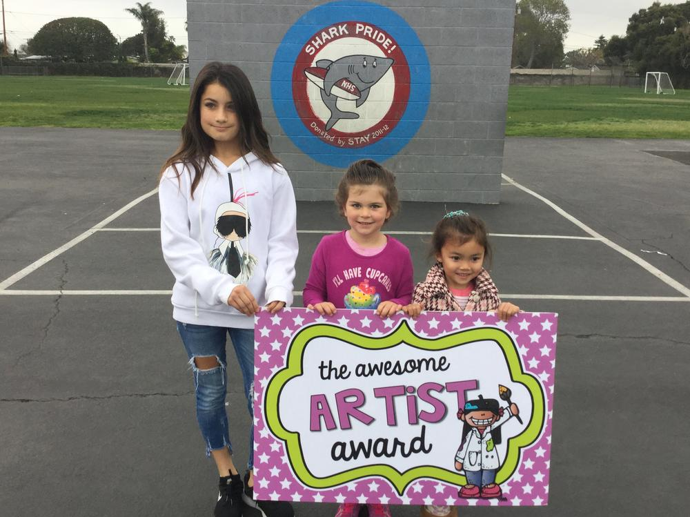 Students who received the Awesome Artist Award