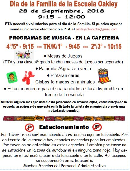 Family Day Flyer in Spanish