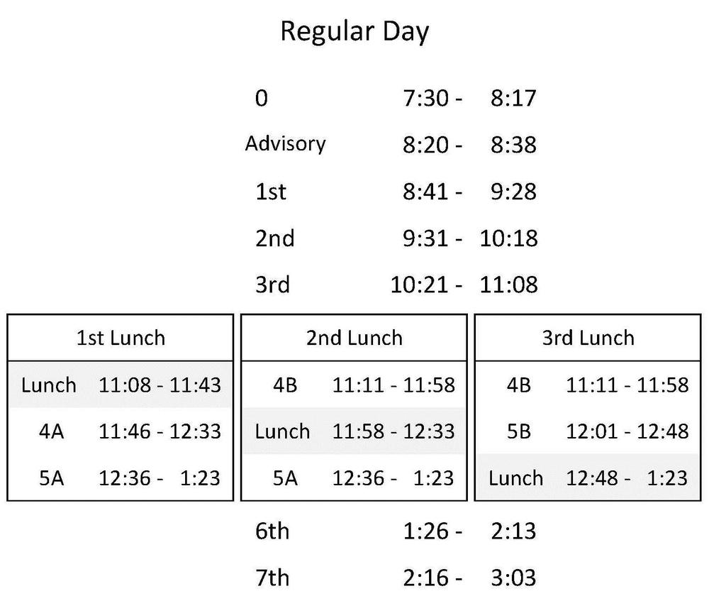O Hara Park Middle School 2016-2017 Bell Schedule - Regular Day