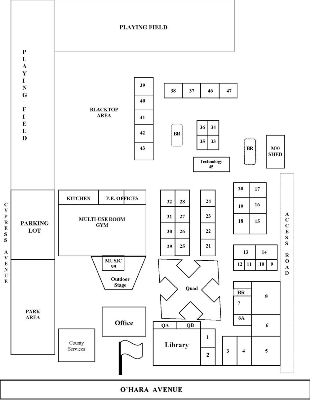 Map of O Hara Park Middle School 2016-2017