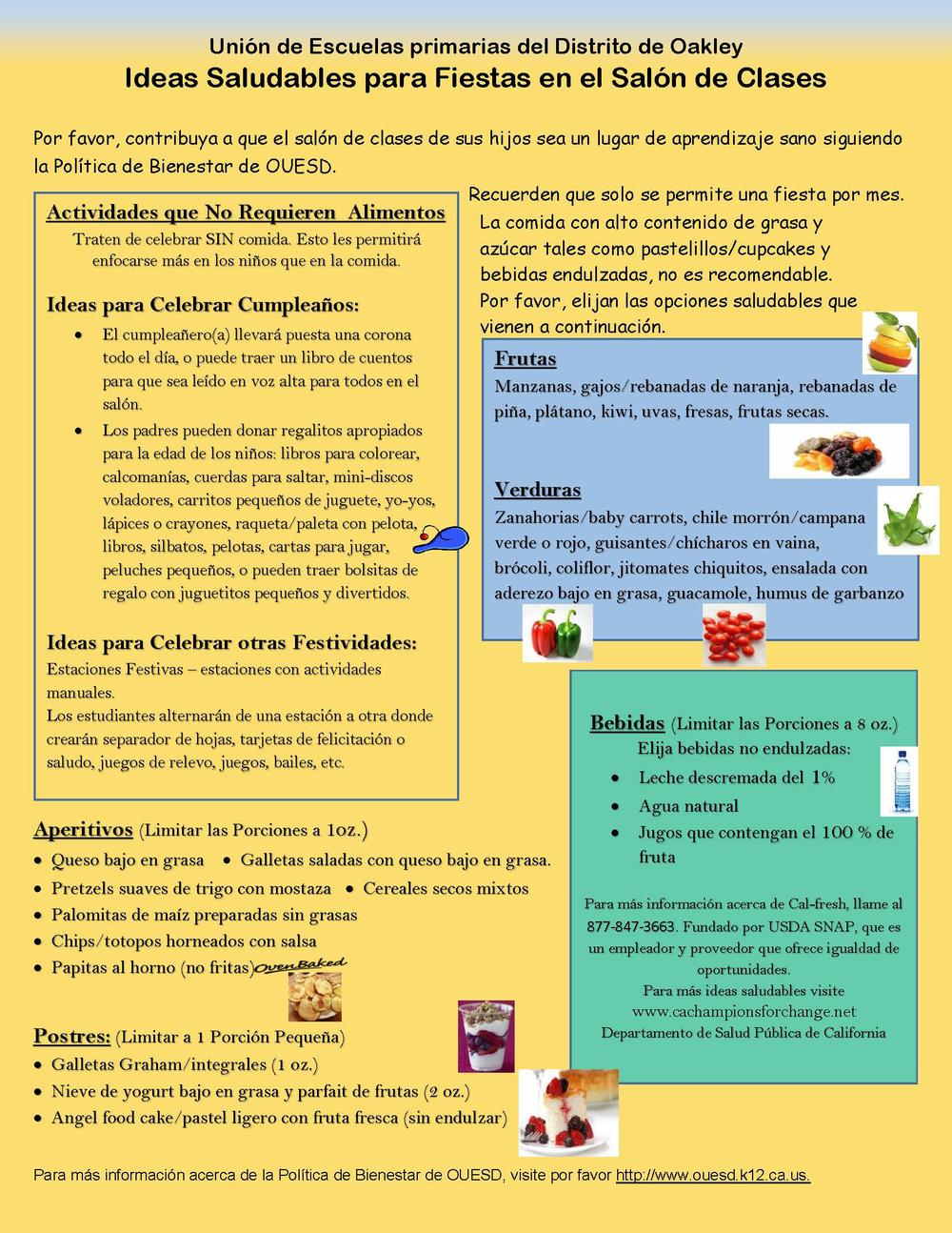 Healthy Classroom Party Ideas flyer  Spanish