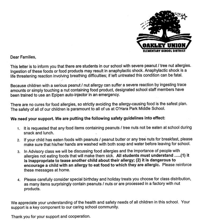 letter regarding peanut allergies