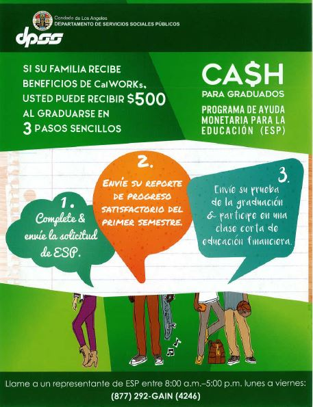 Cash for Grads spanish flyer