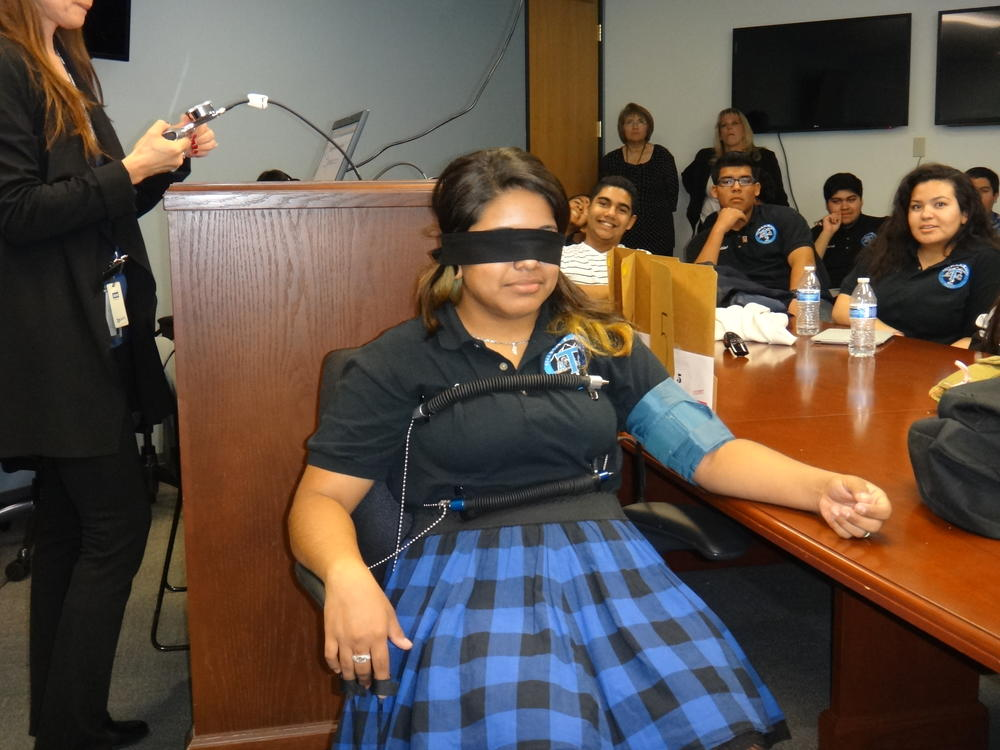 Students in the polygraph machine